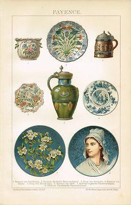 Farbtafel FAYENCE / DELFT Original-Lithographie 1894