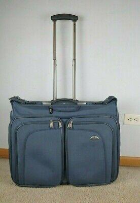 "Samsonite 23"" Wheeled Blue Garment Bag Rolling Travel Luggage Suit Case Bi-Fold"
