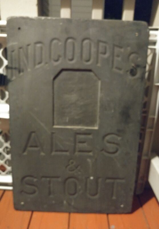 """Antique IND COOPE ALES & STOUT Sign! Carved Slate Tile 18""""x27"""" RARE GUINESS BEER"""