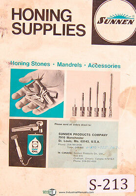 Sunnen Honing Stones Mandrels Accessories Replacement Parts Manual 1975