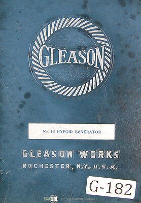 Gleason 16 Hypoid Generator Operators Instructions Manual 1937