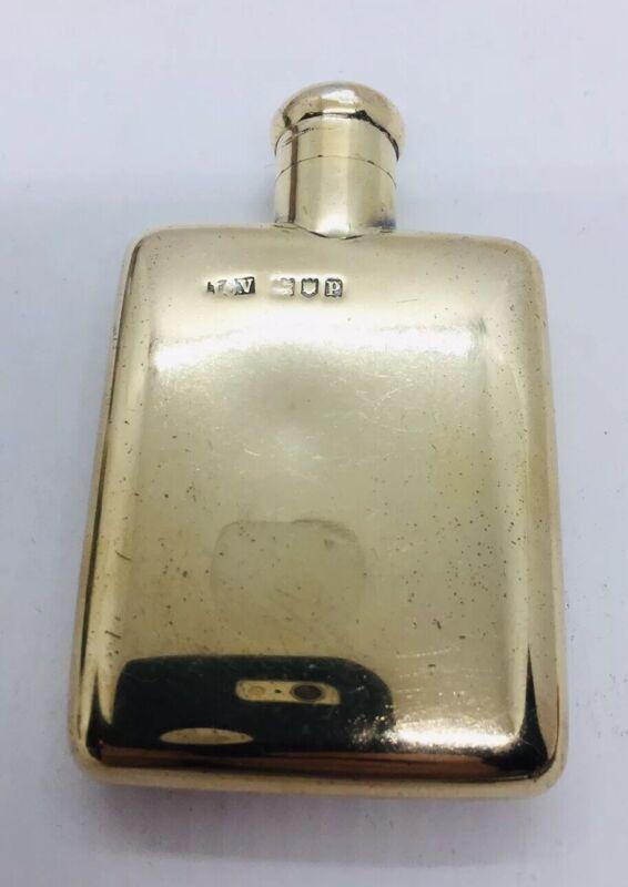 JC Vickery Antique English Sterling Silver Gold Vermeil Regent St Pocket Flask