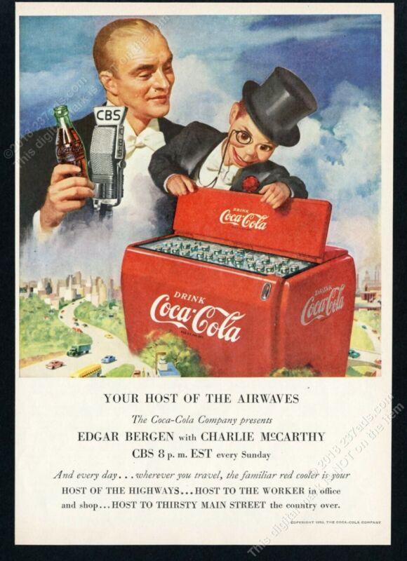 1950 Coke Charlie McCarthy Edgar Bergen art Coca Cola vintage print ad