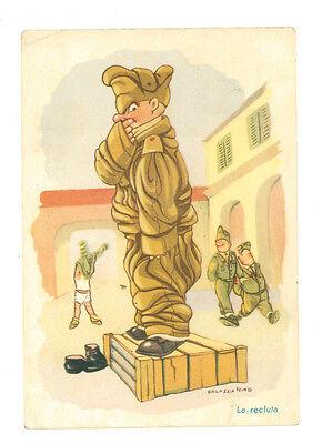 NINO PALAZZO LA RECLUTA UMORISTISTICA MILITARE VIAGGIATA 1952