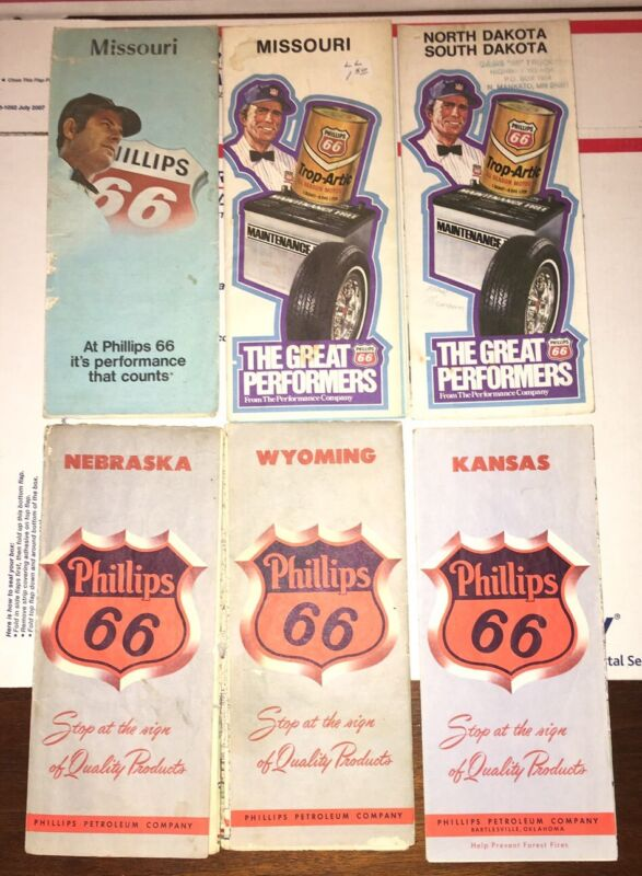 Lot of 6 Vintage Phillips 66 Gas Station Road Maps