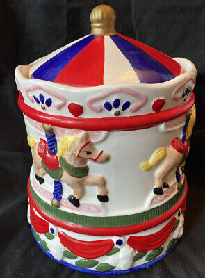 """Carousel Cookie Jar 10"""" Vintage Red White and Blue Merry go round Horse pony EUC"""
