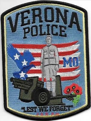 """Verona, MO """"Lest We Forget"""" (4"""" x 5.5"""" size) shoulder police patch (fire)"""
