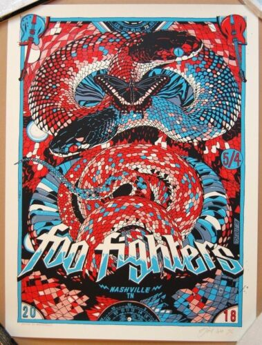 Tyler Stout FOO FIGHTERS Nashville 2018 Screen Print Poster -True Romance artist