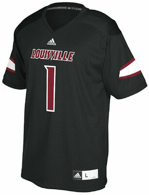 Louisville Cardinals 1 Black Adidas Replica Polyester Football Jersey