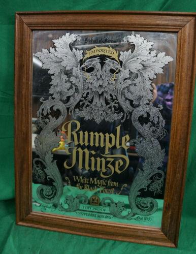 "Vintage Rumple Minze Etched Mirror 25 x19.5"" framed Advertising Sign Schnapps !!"