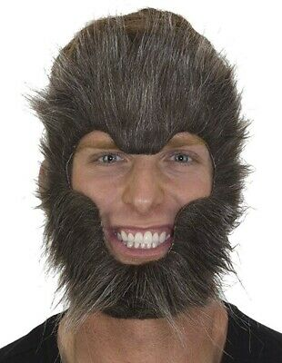 Gray Werewolf Mask Costume Cosplay Teen Wolf Wolverine Wolfman Furry Hair Face - Furry Masks