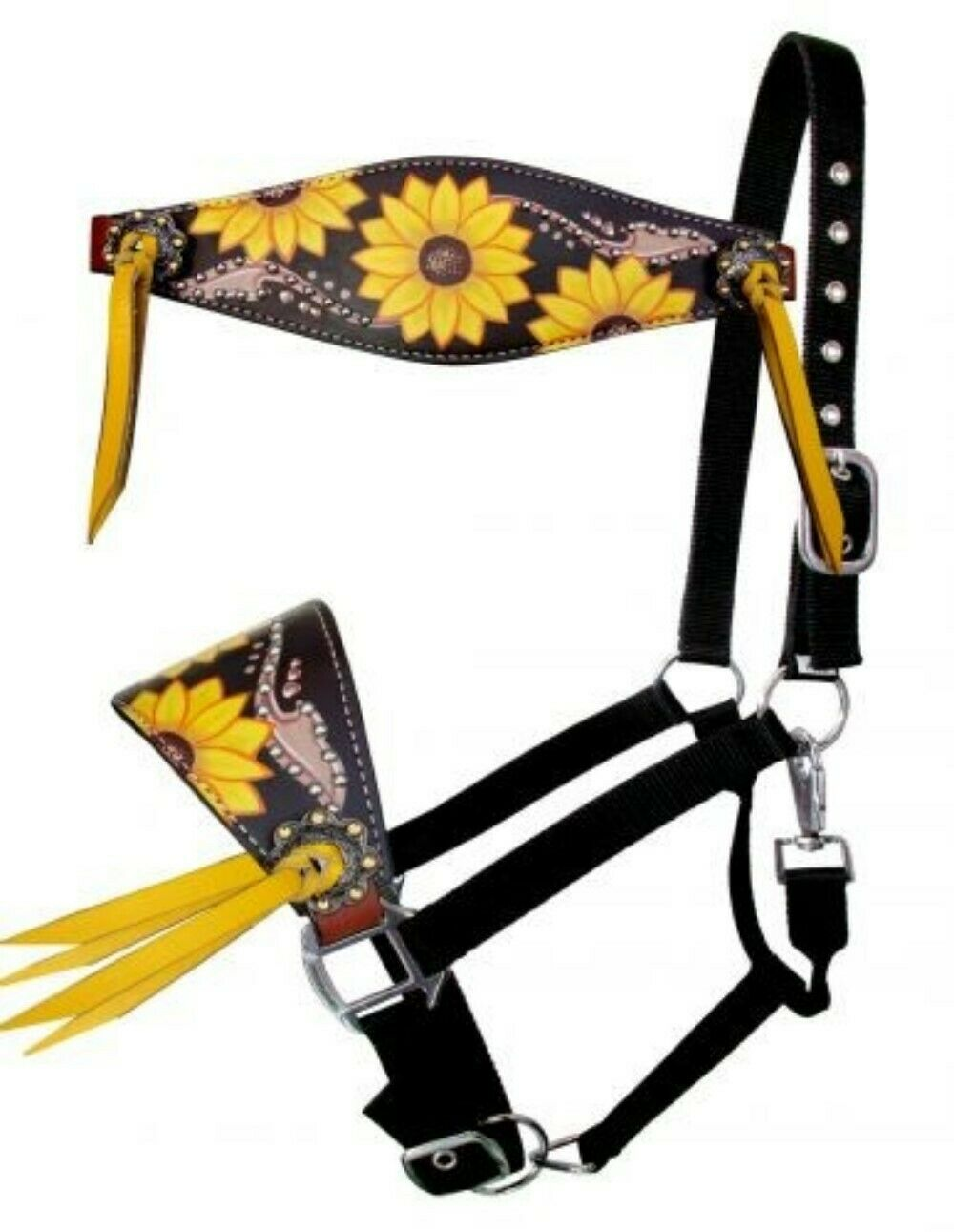 Western Saddle Horse Bronc Halter W Hand Painted Sunflower On Leather Design Sporting Goods Halters Romeinformation It