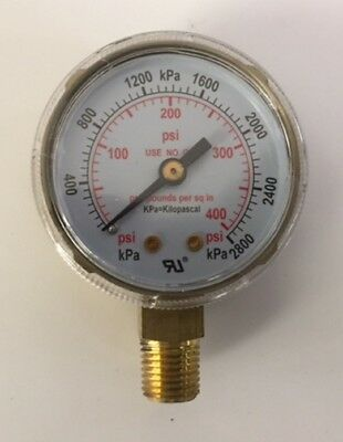 2 High Pressure Gauge For Acetylene Regulator 0-400 Psi 14-18npt 2x400