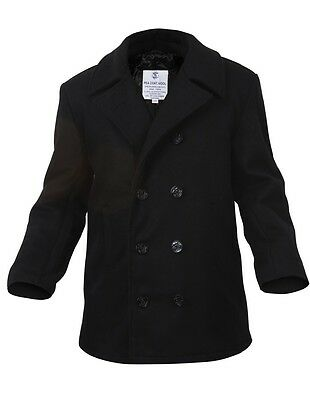 Mens Coat - Wool US Navy Type Pea Coat, Black by Rothco ALL SIZES FROM XS TO (Coat Types)