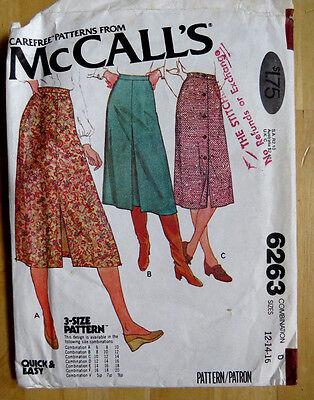 MCCALL c1978Sewing Pattern #6263 WOMENS SKIRT DRESS SIZE 12-16 WAIST 26.5-30