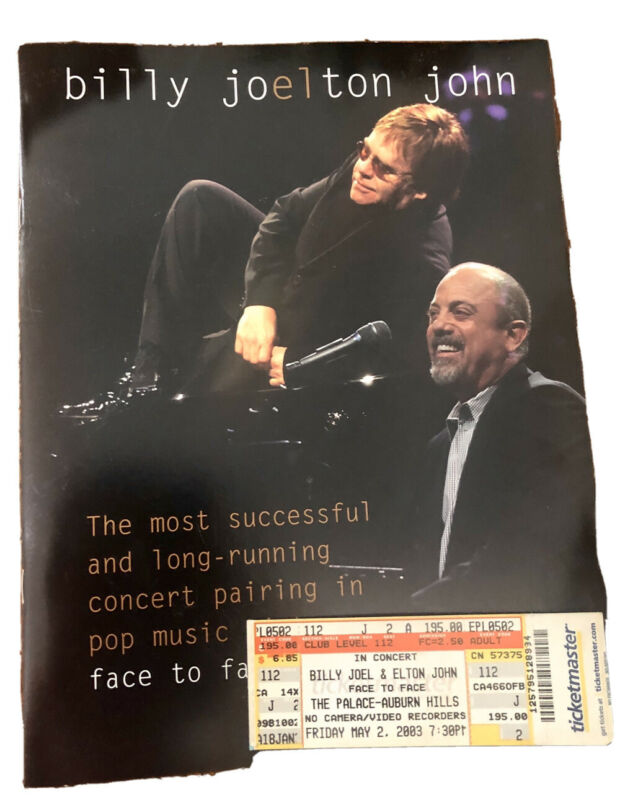 Billy Joel Elton John 2003 Face To Face Show Souvenir Program + Ticket Stub DET