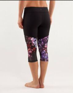 ❤️LULULEMON BLACK CROPS WITH FLORAL ROUCHED LEGS