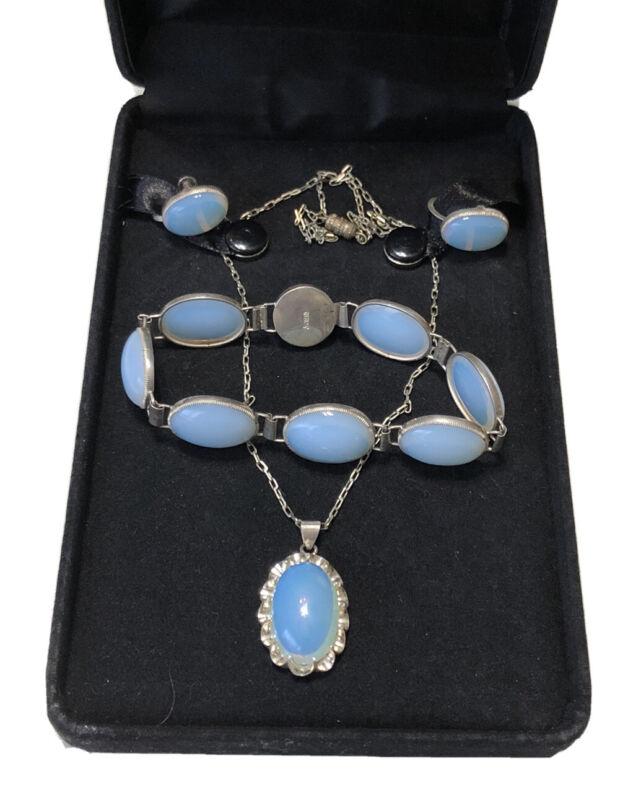 Art Deco Sterling Silver Opalite Moonstone Bracelet Necklace Earrings Set