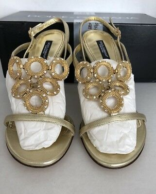 DOLCE & GABBANA 100% AUTHENTIC SHOES GOLD MADE IN ITALY SIZE US 8.5/EUR 39