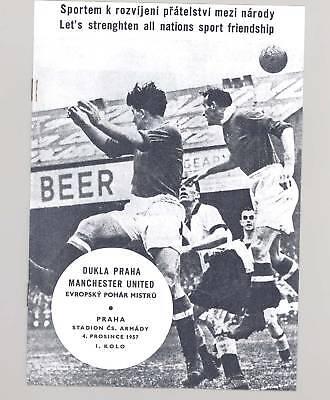 Dukla Praha v Manchester United 1957 PROGRAMME - POSTFREE to UK