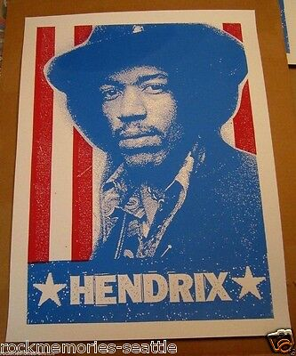 JIMI HENDRIX 2008 Promo Record Store Day Poster red white blue stripes