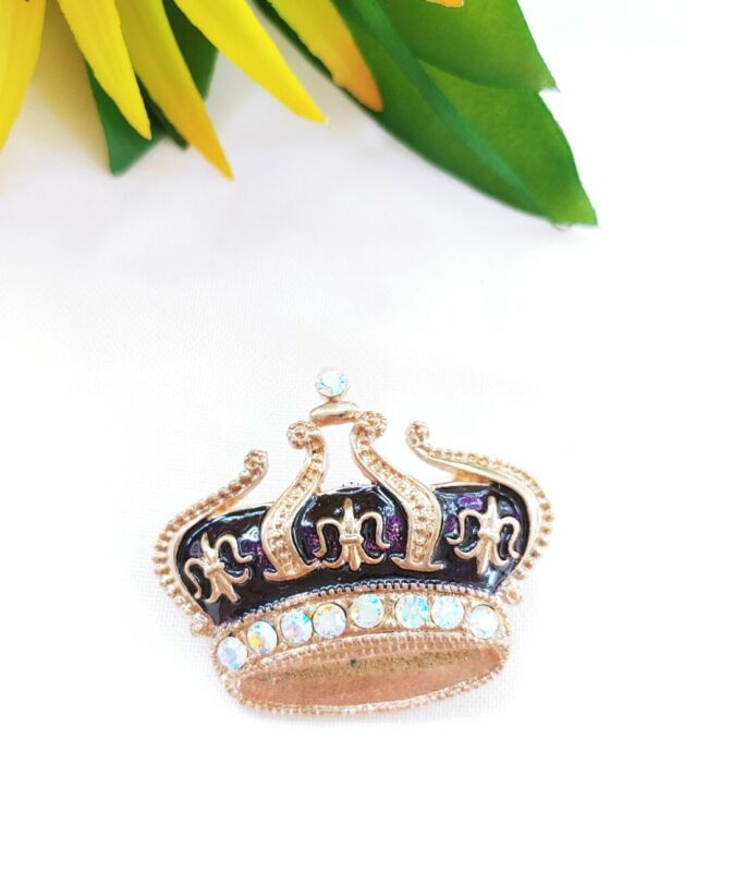 Vintage Brooch pin crown Fleur de Lis Purple enamel rhinestone crystal Gold