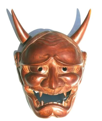 Vintage Japanese hand carving Wood  Mask  Horned Evil Demon Noh Hannya Oni mask