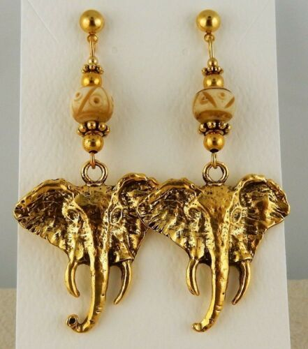 Gold African Elephant beaded Earrings