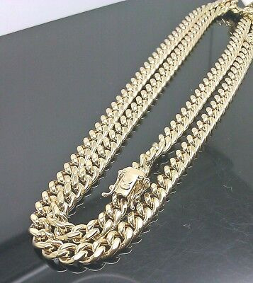 """REAL 10k Yellow Gold Cuban Necklace Chain Box Clasp 28"""" inch 8mm Strong link Men"""