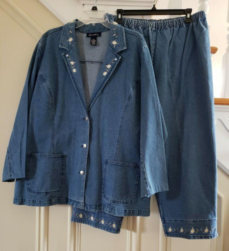Denim & Co. Womens Jean Denim Daisy Flower Pants Jacket Set Size 1X