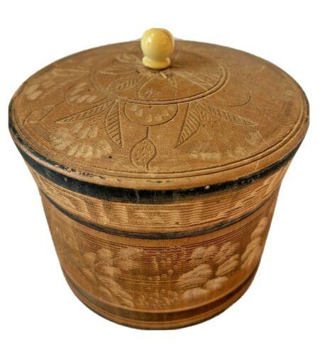 "Vintage  Round Carved Wooden Catchall Trinket Box 3"" Tall 3 3/8"" Diameter"