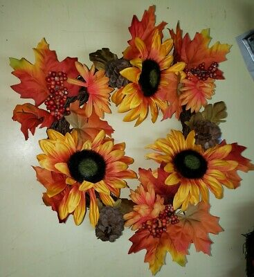 "Fall Wreath 14"" Orange Floral Leaf Autumn Harvest Wreath for Front Door"