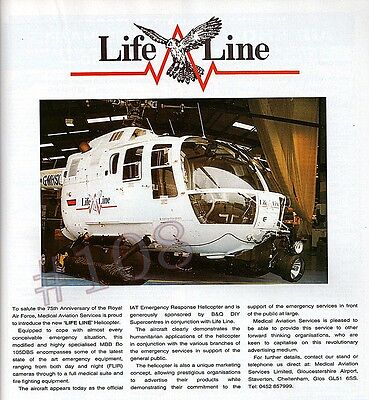 LIFELINE Medical Aviation Services ADVERT Original 1993 Advertisement