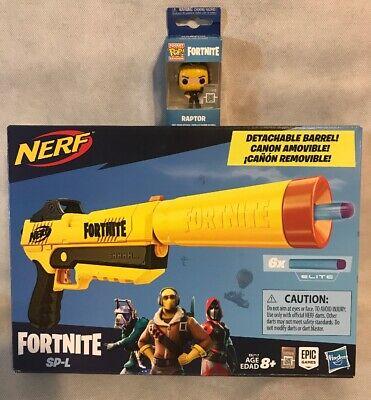 Fortnite Nerf SP-L Elite Dart Blaster W/ 6 Fortnite Elite Darts + Raptor Figure!