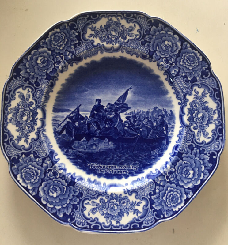 "3 Crown Ducal 1930's George Washington Memorial Plates, 10"" Blue & White"