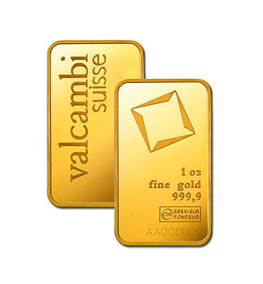 1 Oz Valcambi Gold Bar  New W  Assay