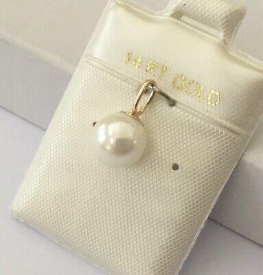 NEW Solid 14K Yellow Gold Genuine 7.75 - 8 mm  Akoya Cultured Pearl Pendants  Akoya Pearl Pendant