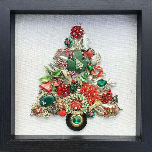 Framed Vintage Jewelry Art Christmas Tree Green Maple Leaf JOY 10x10