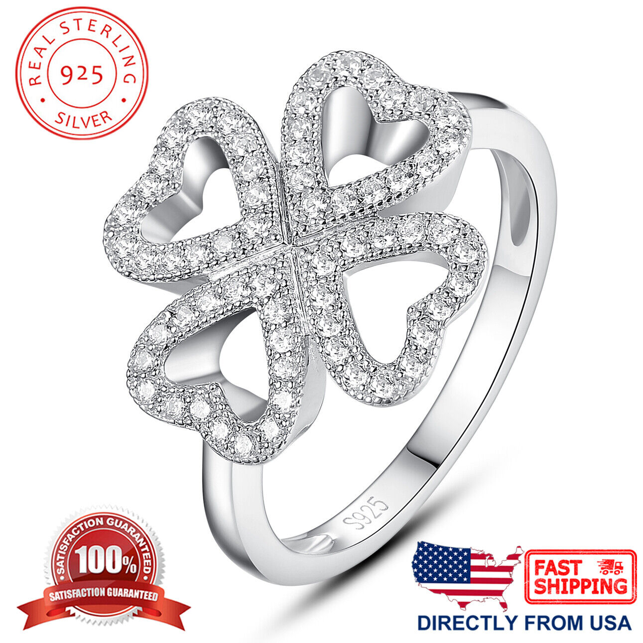 Women's Sterling Four Leaf Clover Heart Micro Pave Cubic Zirconia Cocktail Ring Fine Jewelry