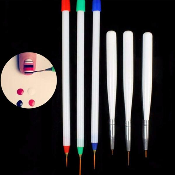6Pcs Set Acrylic French Nail Art Pen Brush Painting Drawing Liner Manicure Tools