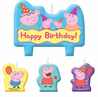 Peppa Pig Cake Toppers (Peppa Pig CANDLE SET 4pcs ~ Happy Birthday Party Supplies Cake)