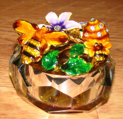 Bubble Bee Lead Crystal Box (3131) Enameled Pewter, Australian Crystals