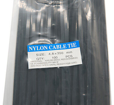 14 Black Nylon Cable Tie Zip Heavy Duty Plastic Wire - Pack Of 100pcs