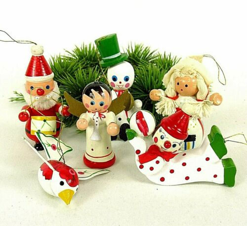 Lot Wood Christmas Ornaments Vintage