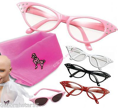 Womens Girls 50s Rock n Roll Retro Poodle Neck Scarf Glasses Fancy Dress Costume - 50 S Costumes