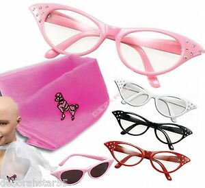 Womens-Girls-50s-Rock-Roll-Retro-Grease-Poodle-Scarf-Glasses-Fancy-Dress-Costume