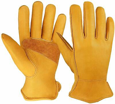 Ozero Flex Grip Leather Work Gloves Medium 1 Pair Elastic Wrist