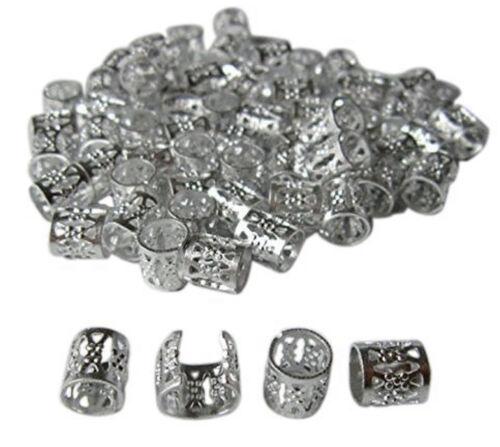 60 pcs SILVER Dreadlock Beads Cuff Tube Clip Hair Dread Braiding Jewelry