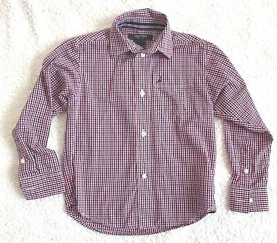 Nautica Boys Plaid Shirt Kids size 6 Regular Long Sleeve Button Front