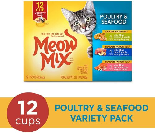Meow Mix Tender Favorites Wet Cat Food - Poultry & Seafood Variety Pack 12-can